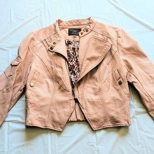 Blush Colored Faux Leather Waist Length Jacket-L